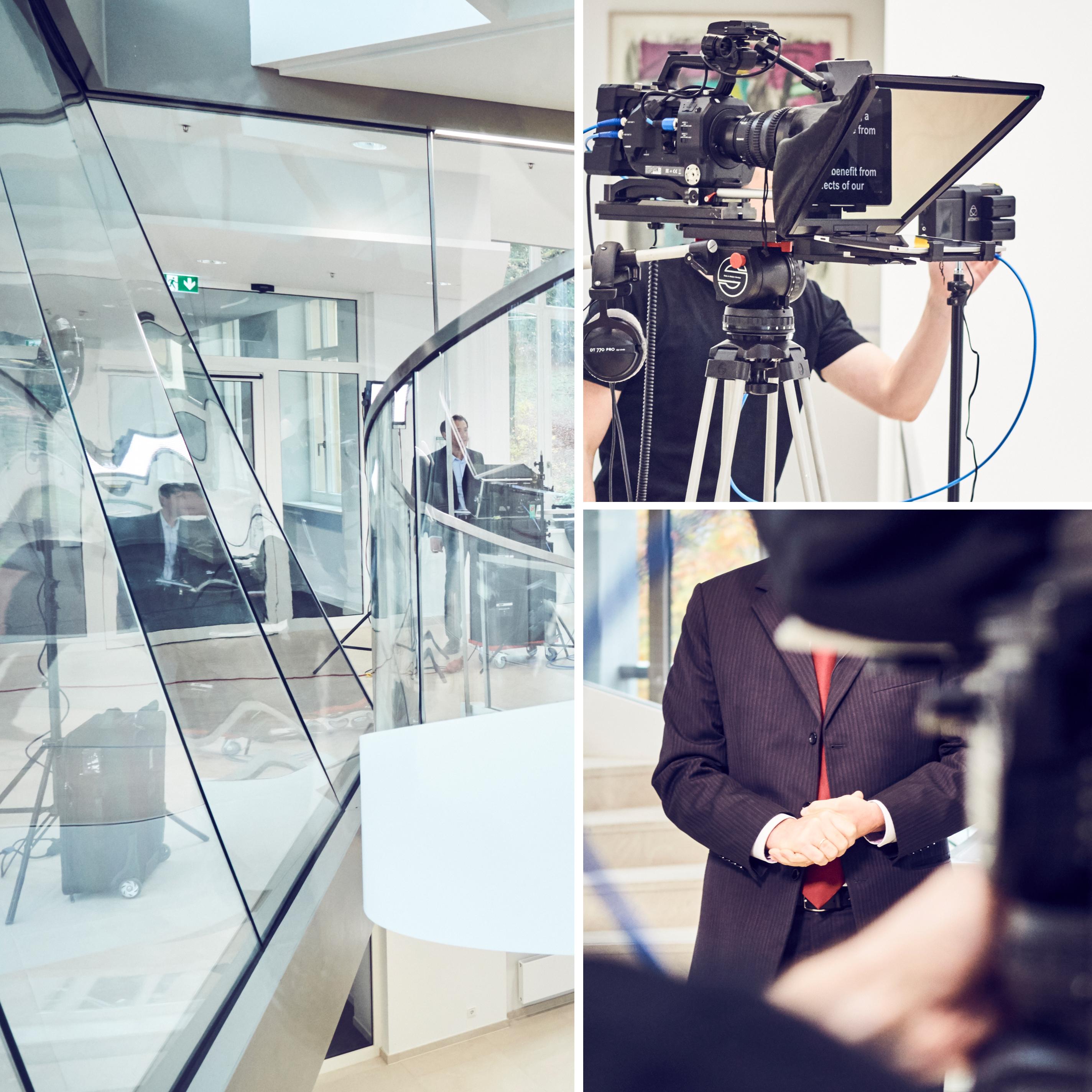 In einer Bild-Collage sieht man Making of Bilder zum Webcast von B.Braun. In einem Bild sieht man in der Ferne einen Mann hinter einer Glasscheibe stehen, von wo aus er auf einem Monitor das Geschehen verfolgt. Auf einem anderen Bild steht ein Mann hinter einer Kamera, welche er gerade einstellt. Auf dem letzten Bild sieht man einen Mitarbeiter von B.Braun, dessen Kopf von einer Kamera verdeckt ist. Er hat seine Hände ineinander gelegt